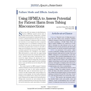 Using HFMEA to Assess Potential for Patient Harm from Tubing Misconnections
