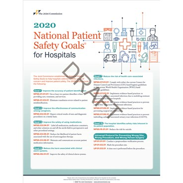 2020 National Patient Safety Goals for Hospitals posters, large size