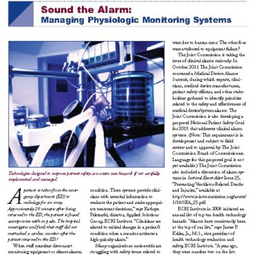 Sound the Alarm: Managing Physiologic Monitoring Systems