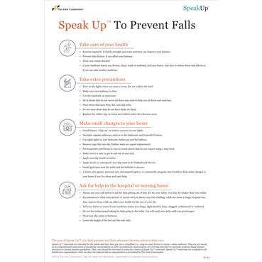 Speak UpTM to Prevent Falls posters, English
