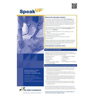 Speak Up What You Should Know About Stroke brochures  posters