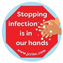 """Stopping Infection Is in Our Hands"" hand hygiene buttons"