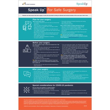 Speak UpTM For Safe Surgery Posters, English version